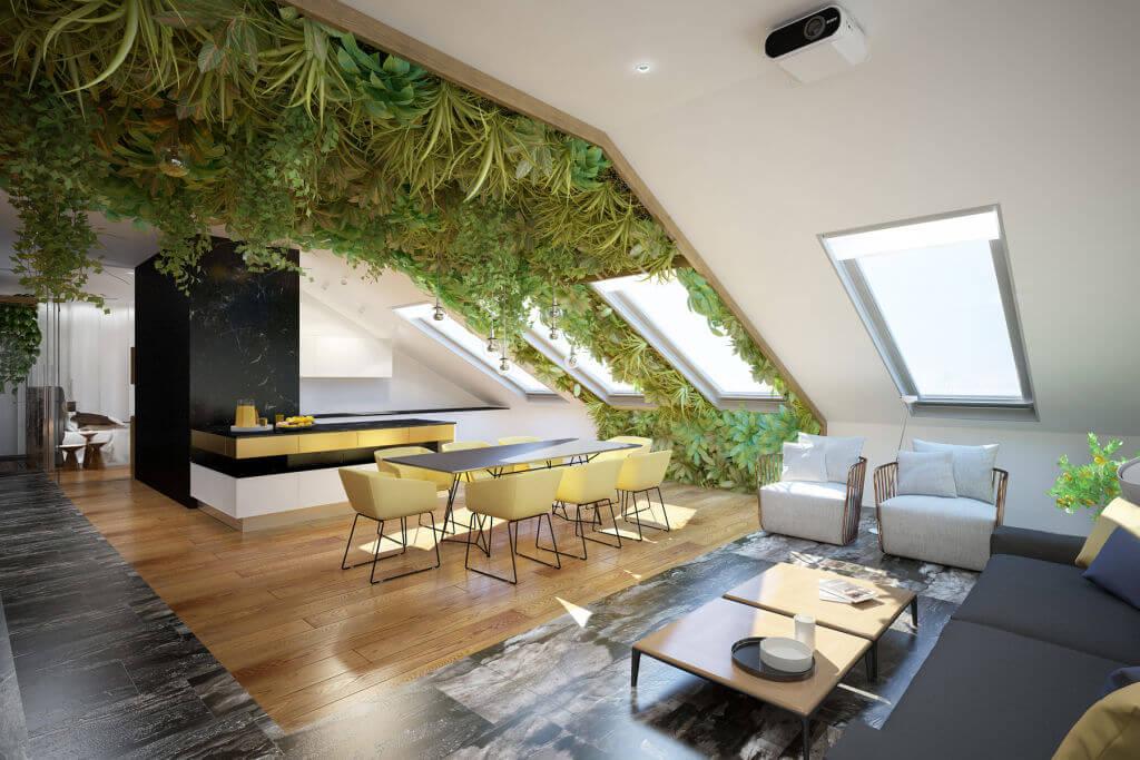 Живой потолок в гостиной в экостиле