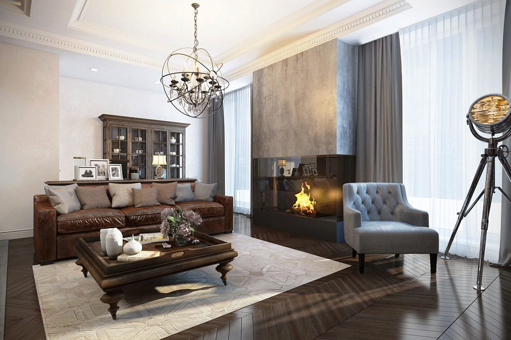 фото гостиной с камином в современном стиле фото