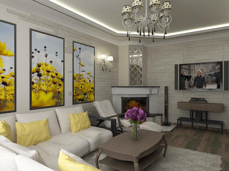 Гостиная в современном стиле с камином фото