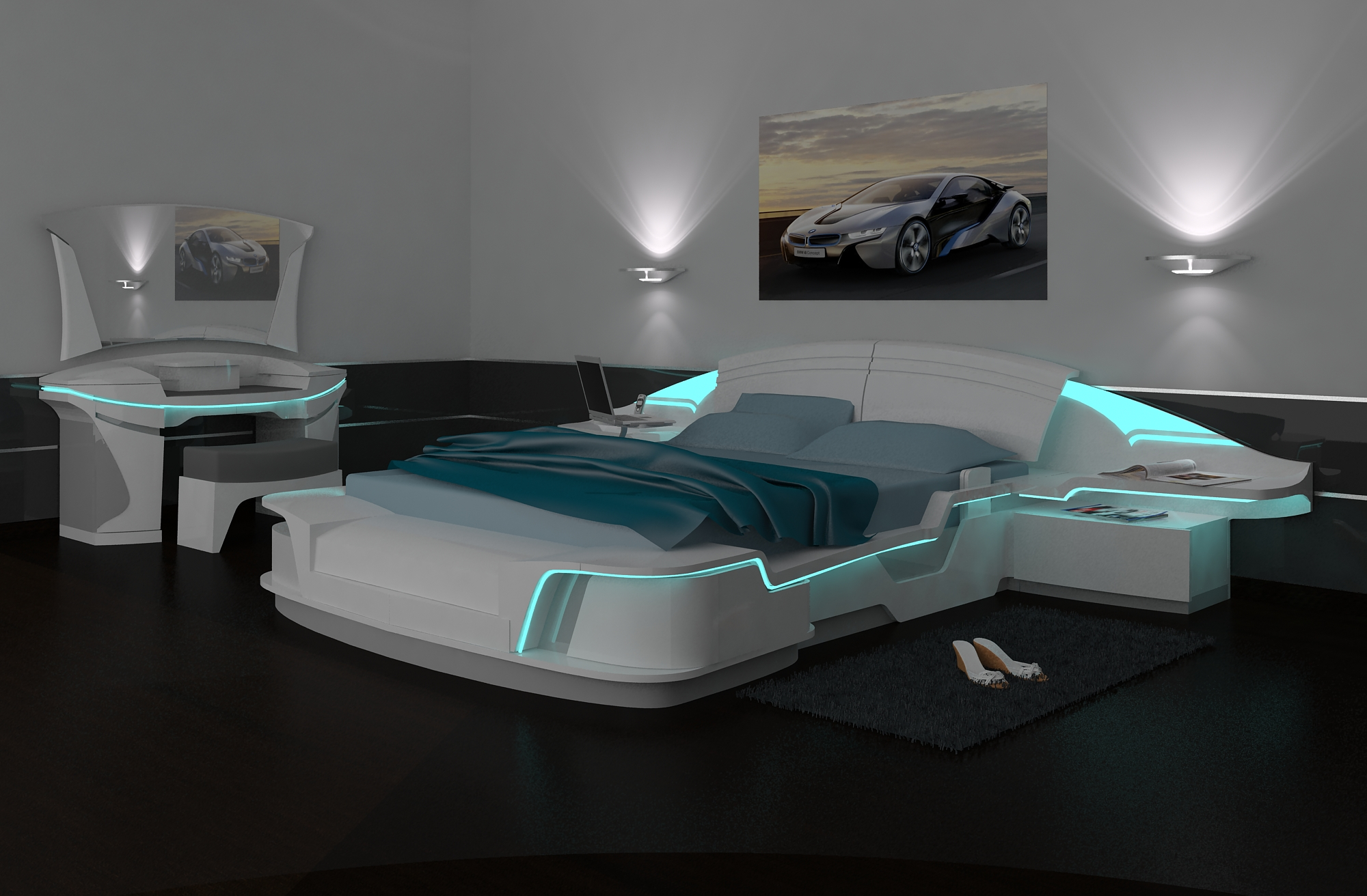 Космическая мебель в спальне
