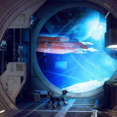 Космический корабль в комнате