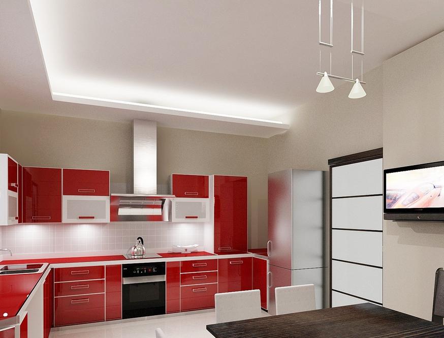 Красно-белая кухня в стиле минимализм
