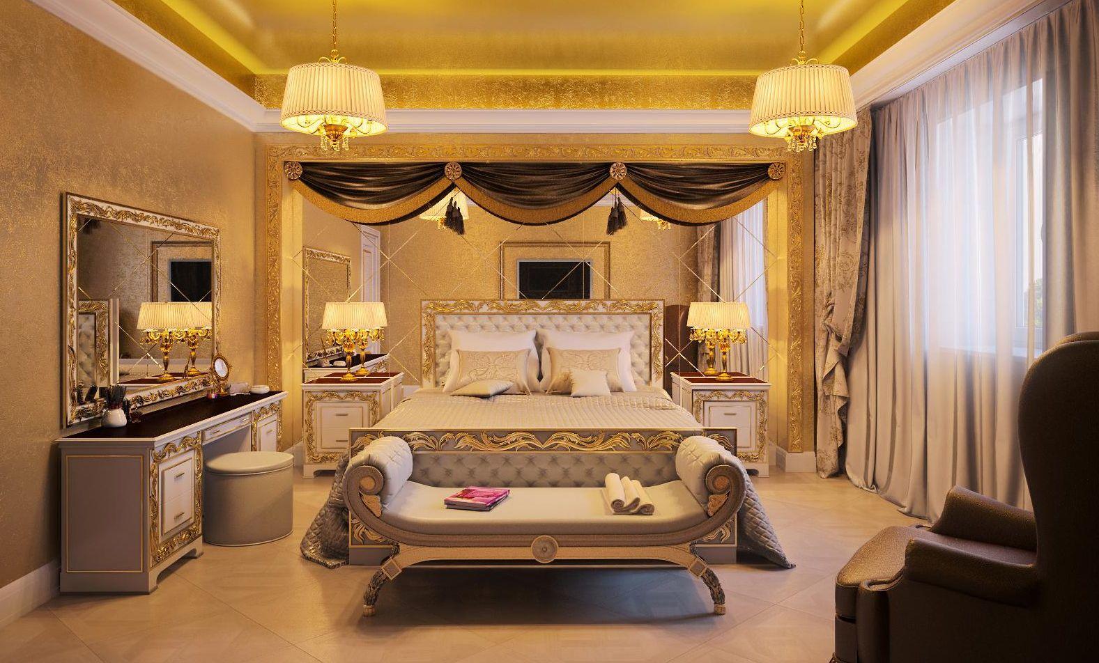 Серые шторы в стиле ренессанс в золотистую спальню