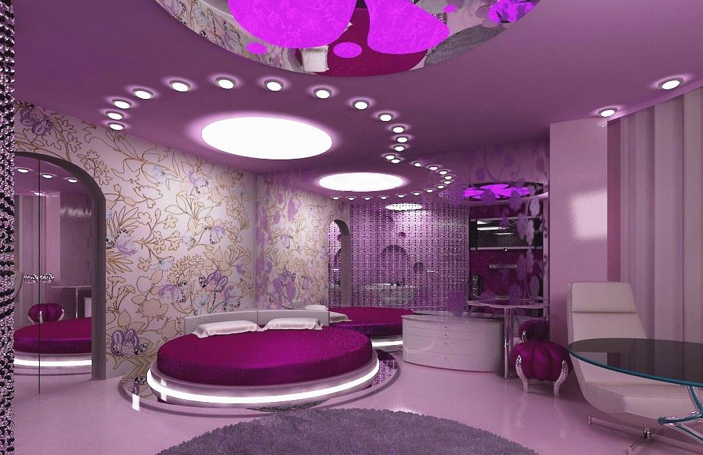 Сиреневая спальня в космо стиле
