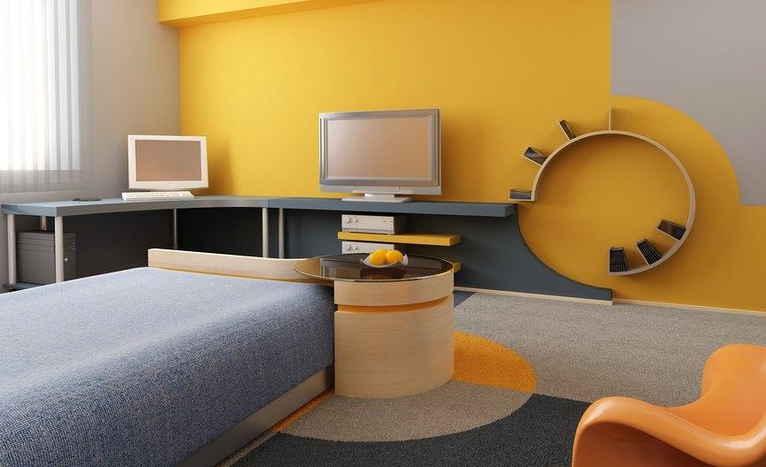 Подростковая комната в стиле хай-тек