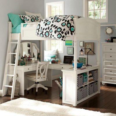 Двуспальная кровать чердак с рабочей зоной в комнате подростка