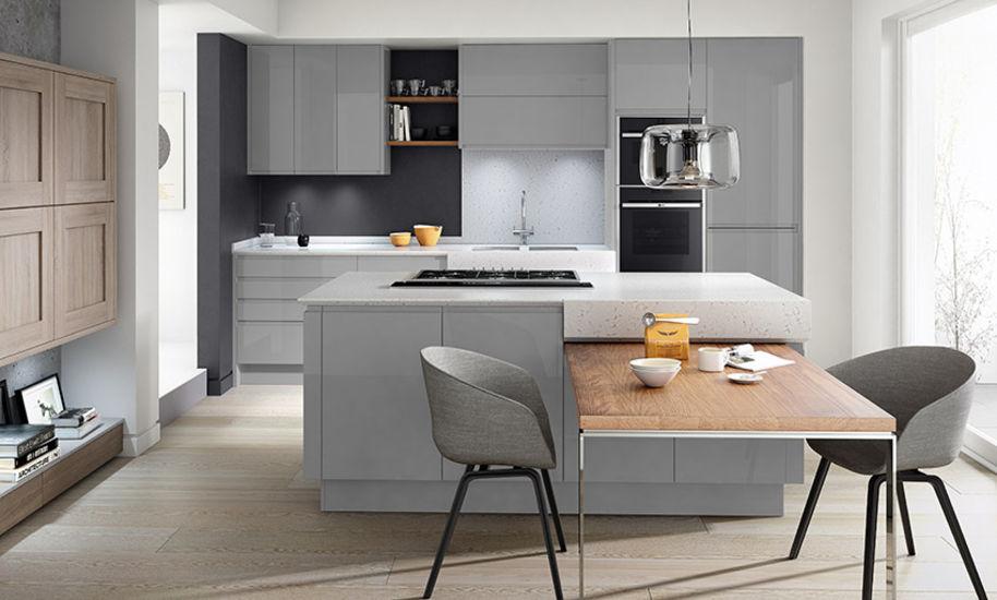 Выдвижной стол на кухне в стиле контемпорари