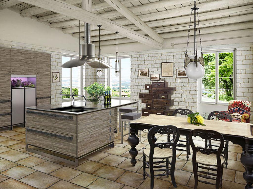 Оптимальным вариантом для большой кухни станет несколько светильников