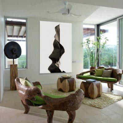 Мебель из цельного массива дерева в гостиной в экостиле