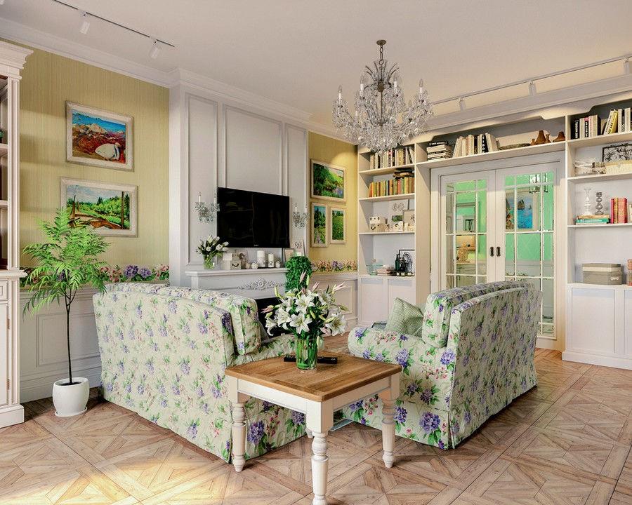 Гостиная в стиле прованс станет местом, куда хочется возвращаться