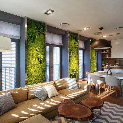 современный интерьере в гостиной в экостиле