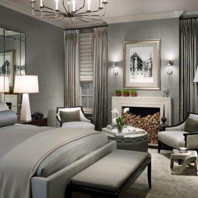 Серая спальня в стиле арт-деко