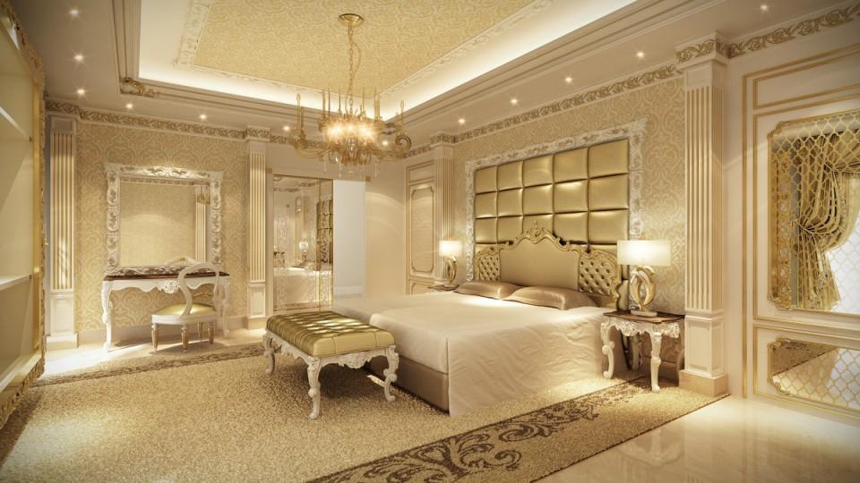 Светлая спальня в стиле неоклассика
