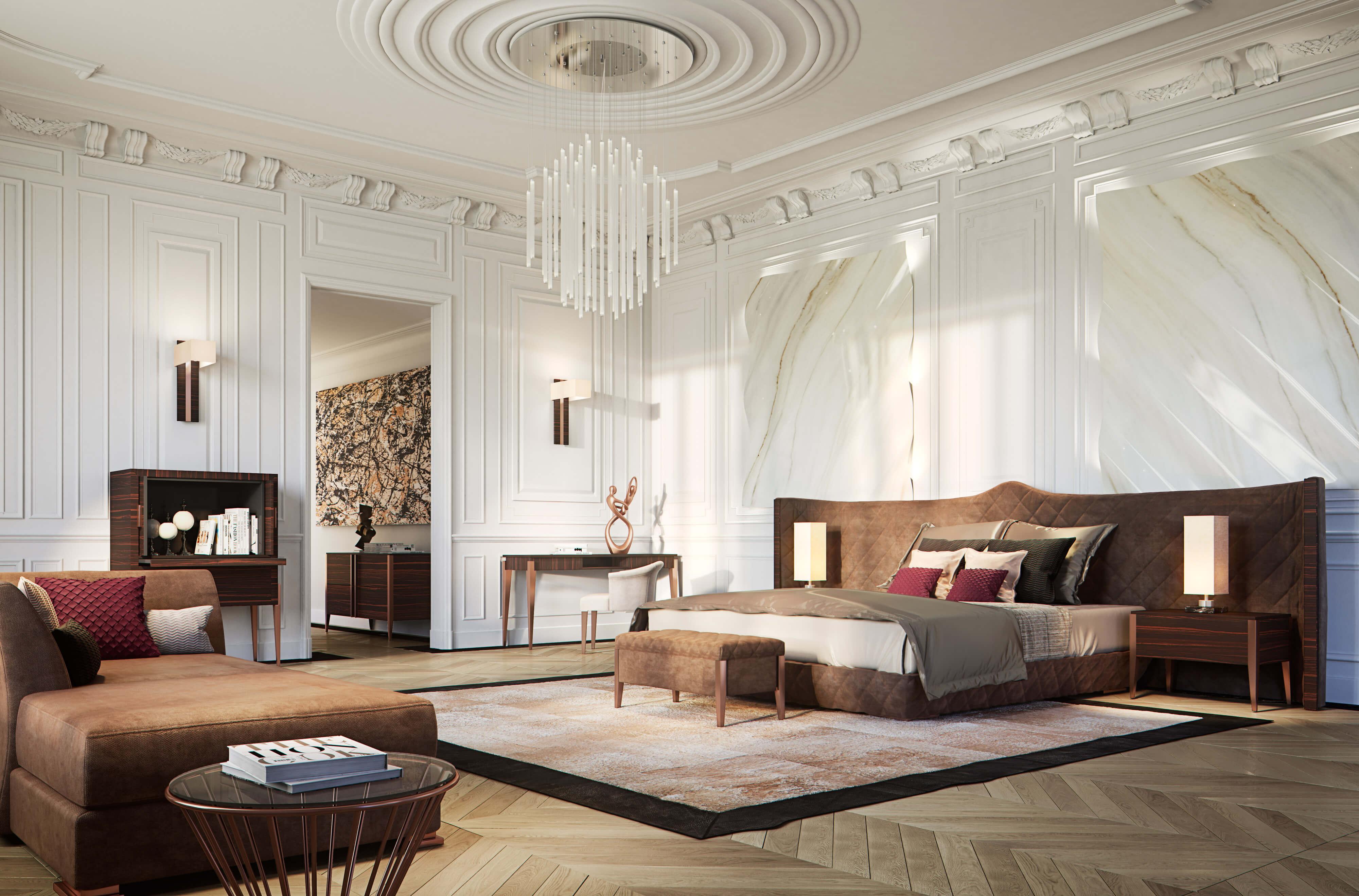 Спальня в стиле неоклассика предполагает наличие просторного помещения с высокими потолками