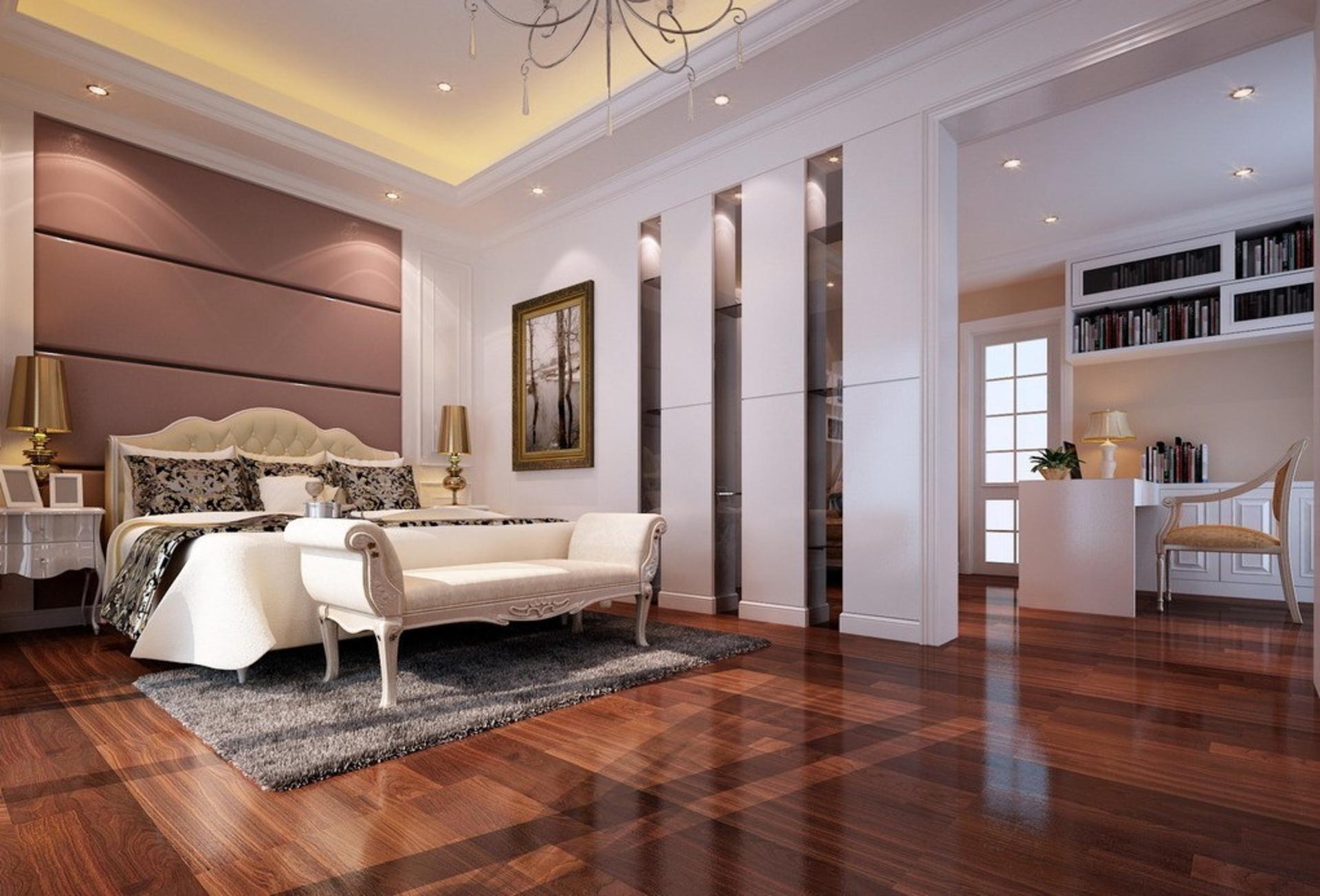 Лучше всего спальню в стиле неоклассика делать в большой квартире с высокими потолками