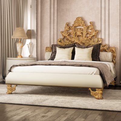 Золото в отделке спальни в стиле рококо
