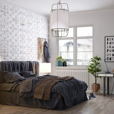 Спальня в скандинавском стиле с двумя люстрами
