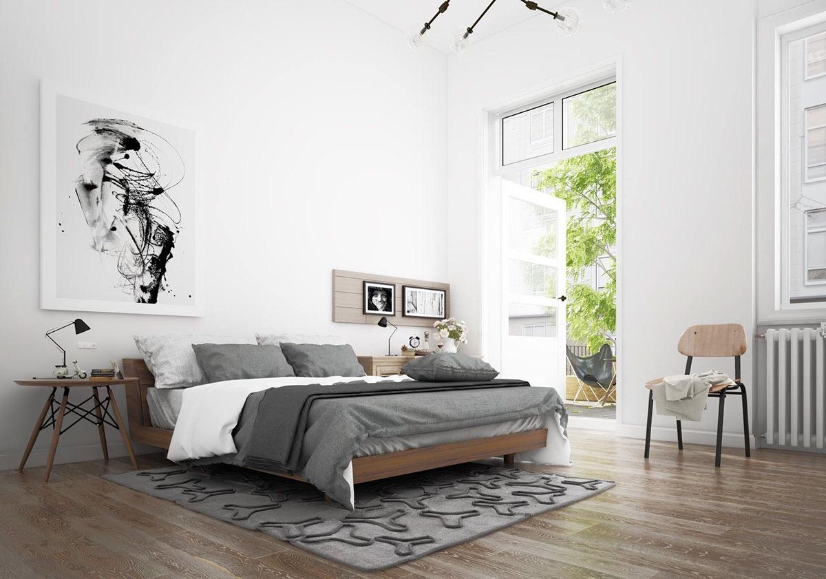 Спальня в скандинавском стиле отличается простотой, легкостью и уютом