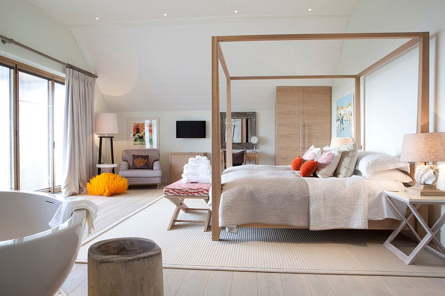 Спальня, совмещенная с ванной