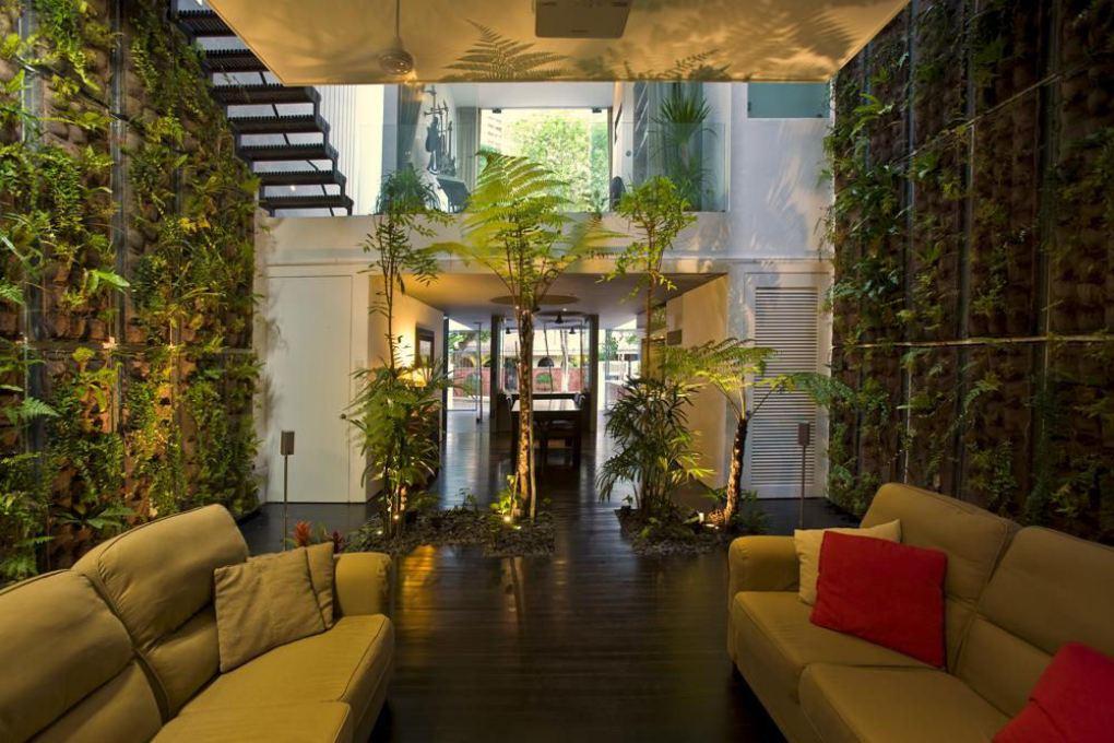 Вертикальное озеленение для стен в гостиной в экостиле