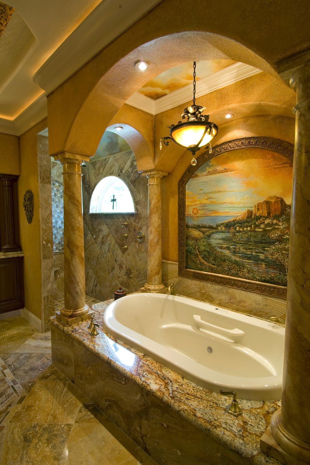 Настенная живопись средиземноморсой ванной в итальянском направлении