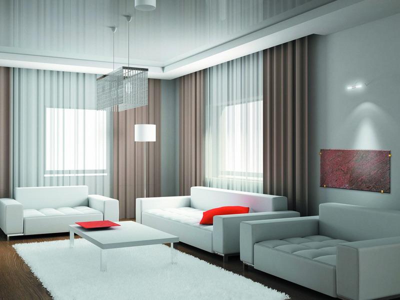 Дизайн штор для зала в современном стиле