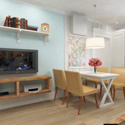 Комната гостиной и кухни