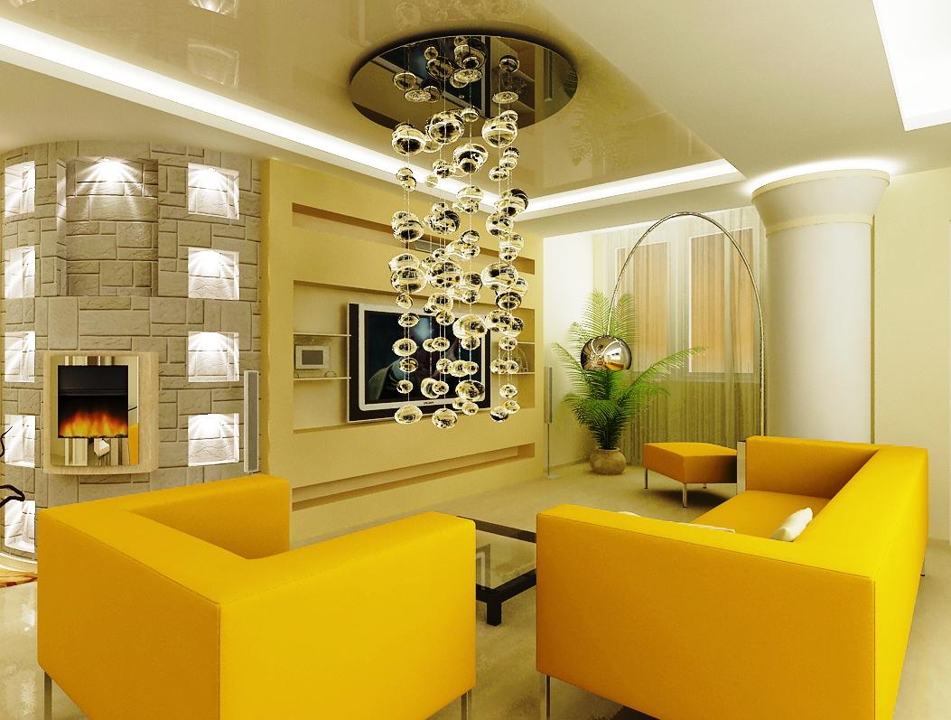 Длинная люстра в стиле модерн в центре комнаты