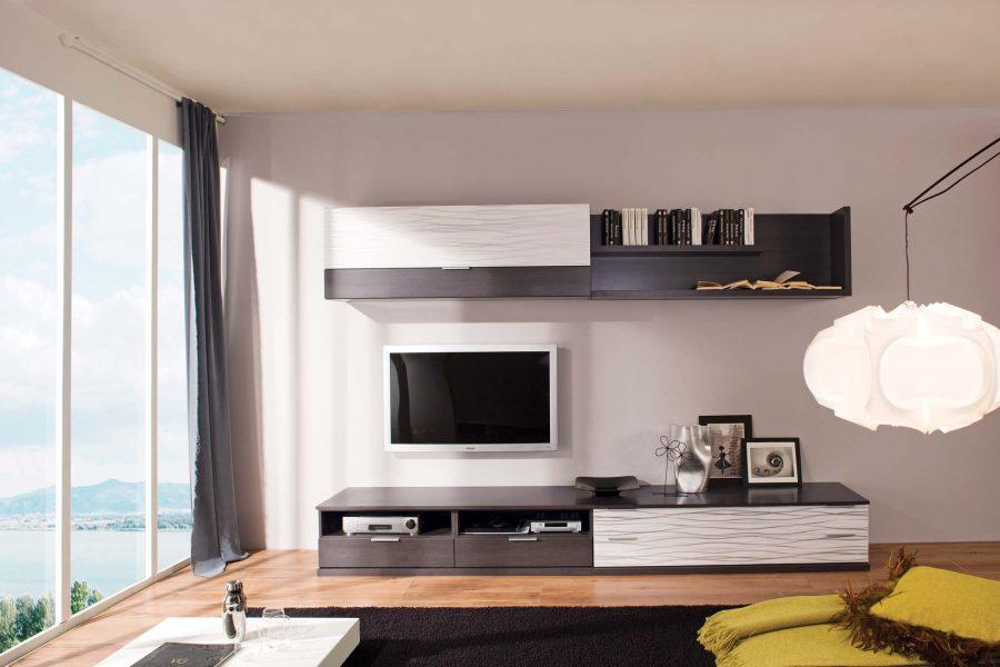 Черно-белый вариант стенки в гостиной
