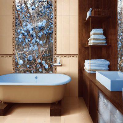 Голубые аксессуары в ванной