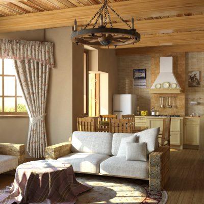 Небольшая гостиная в деревенском стиле
