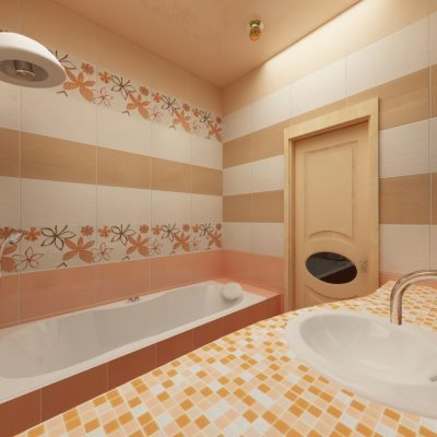 Современная узкая ванная