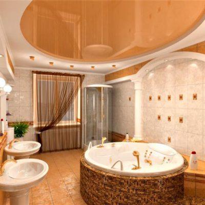 Круглая ванная посреди комнаты