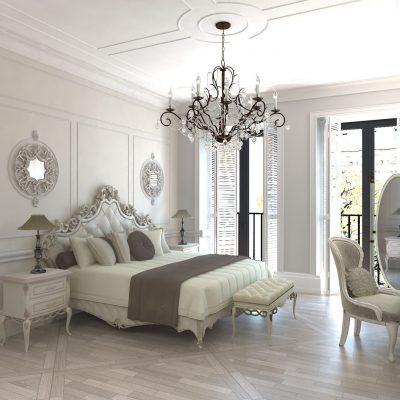 Большая классическая спальня в белом цвете