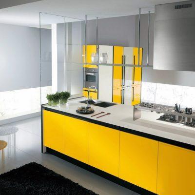 Стильная желтая кухня