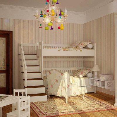 Двухэтажная кровать в детской в стиле прованс