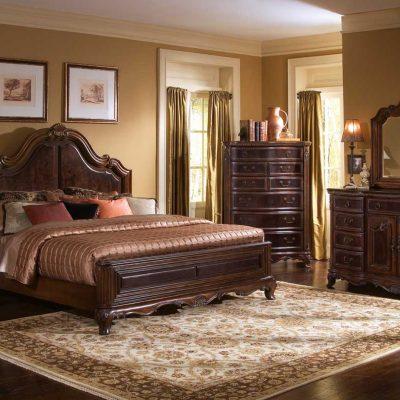 Коричневая мебель в спальне
