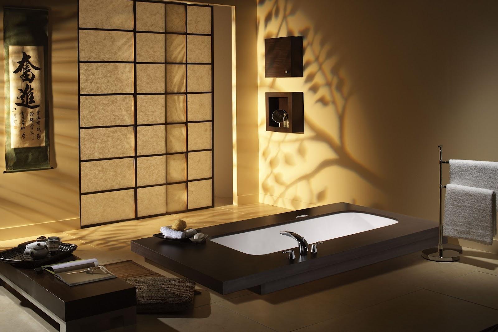 Красивое оформление ванной в японском стиле