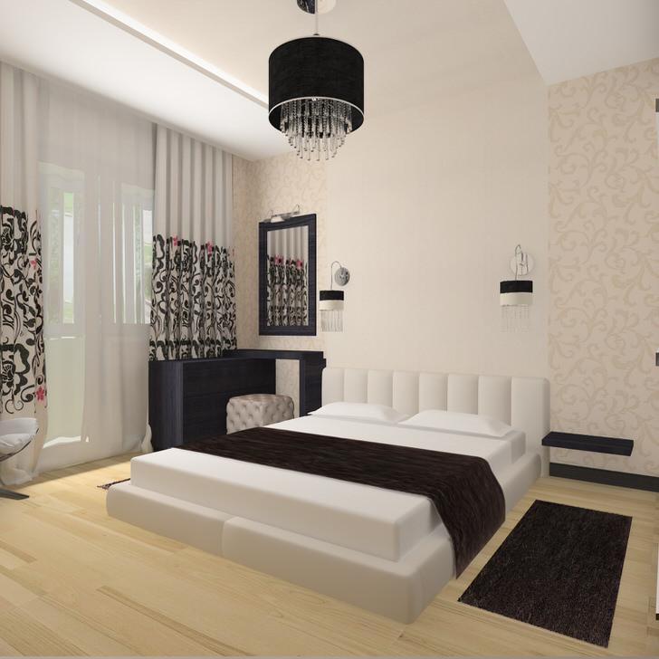 Отличный пример спальни в стиле модерн