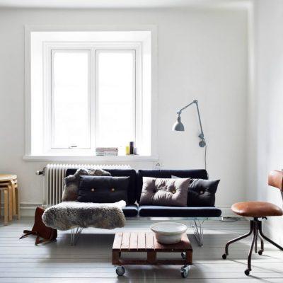 Минималистичная гостиная в скандинавском интерьере