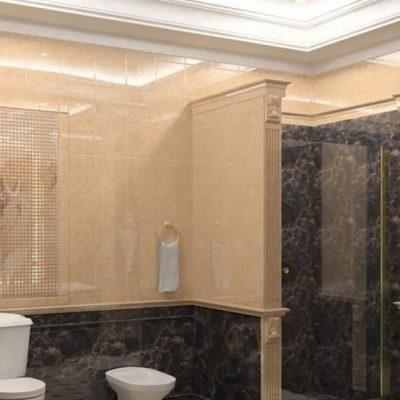 Сочетание плиток в ванной комнате