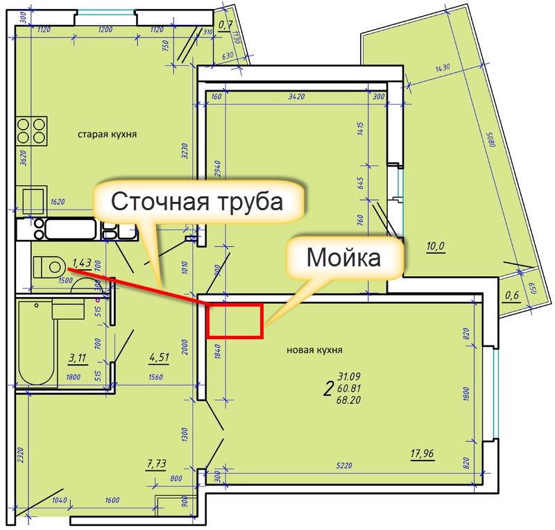 Схема переноса кухни из одной комнаты в другую