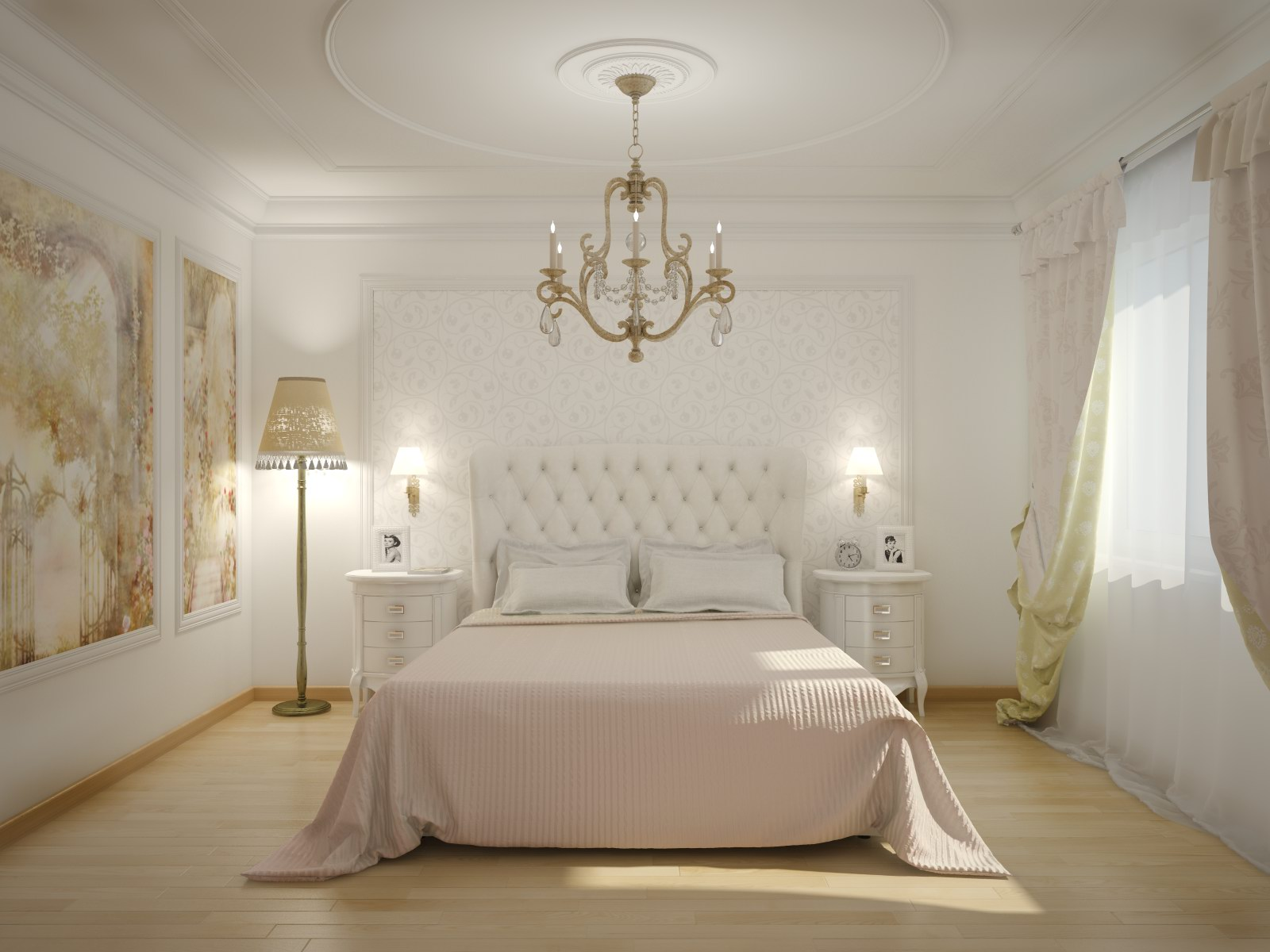 Спальня в светлых тонах