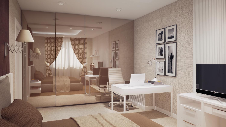 Теплые тона спальни в стиле модерн