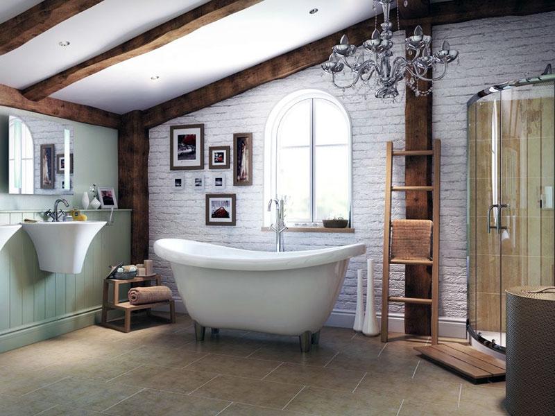 Ванная комната с белыми кирпичами