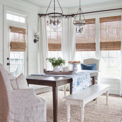 Бамбуковые римские шторы в столовой