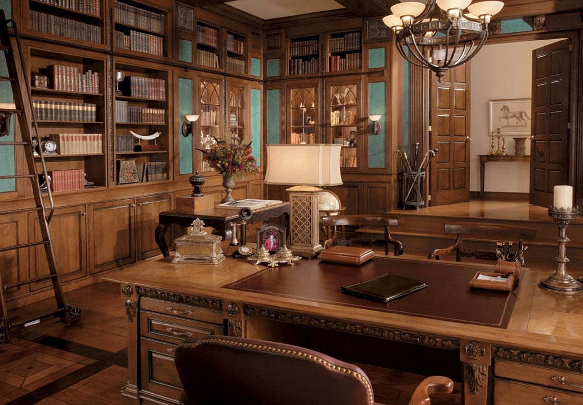Коричневые оттенки в кабинете в английском стиле