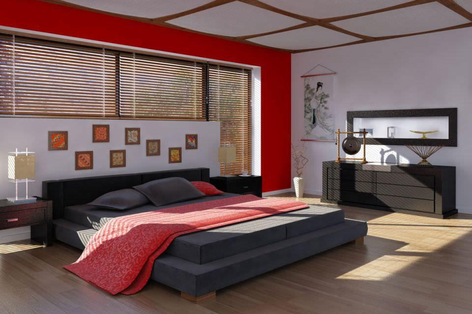 Красный, черный и белый - самые популярные цвета для обустройства комнаты в китайском стиле