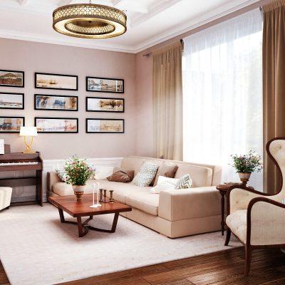 Светлая гостиная на фото