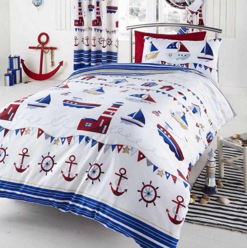 Текстиль для кровати в морском стиле